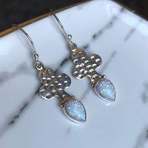 🆕 Earrings White Fire Opal & Sterling Silver